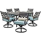 """Hanover MCLRDN7PCSQSW6-BLU Montclair 7-Piece Set in Ocean Blue with 6 Swivel Rockers and a 40"""" x 67"""" Dining Table Outdoor Furniture"""