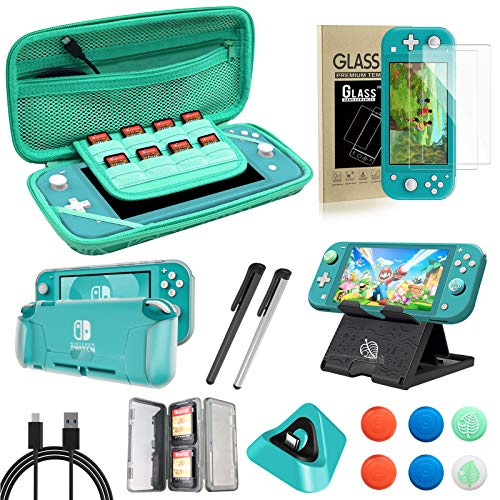 Accessories Bundle for Switch Lite, Kit with Carrying Case, Tpu Cover Case with Screen Protector, Playstand, Game Card Case, Charging Dock, Usb Cable,Thumb-Grip Caps, Stylus for Nintendo Switch Lite