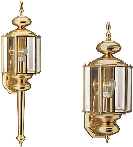 Sea Gull Lighting 8510-02 Classico One-Light Outdoor Wall Lantern with Clear Beveled Glass Panels, Polished Brass Finish