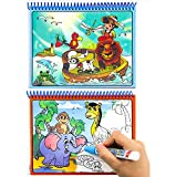 Aqua Doodle,Reusable Water-Reveal Activity Pads 2-pk Water Coloring Books Aqua Drawing Painting Toy Travel Kits with Bonus Pens for Kids(Letters &Numbers)