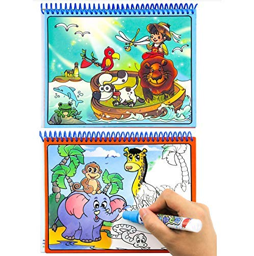 Watermagic Books Reusable Water-Reveal Activity Pads 2-pk Water Coloring Books Aqua Drawing Painting Toy Travel Kits with Bonus Pens for Kids (Letter,Numbers)