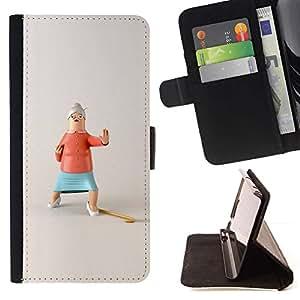 Momo Phone Case / Flip Funda de Cuero Case Cover - Acción divertido de la abuela de parada de Kung Fu - Samsung Galaxy S6 EDGE