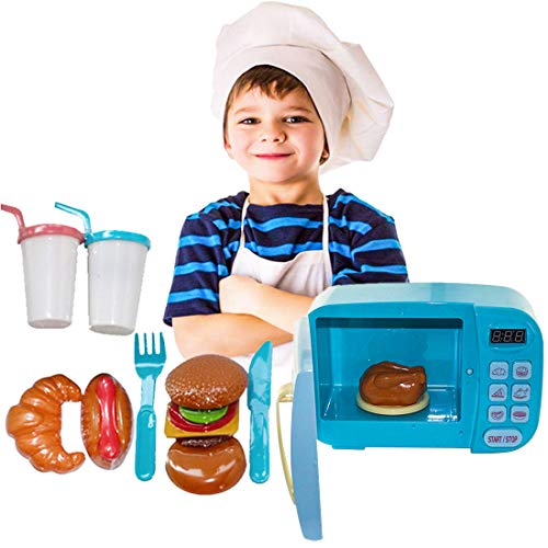 WOLFBUSH Microwave Kitchen Play Set Pretend Play Electronic Toy Microwave with Fake Food for Kids Toddlers 3 Years - Play Microwave