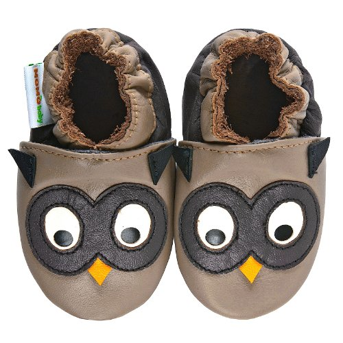 Momo Baby Boys Soft Sole Leather Shoes - Owl (6-12 Months) Taupe