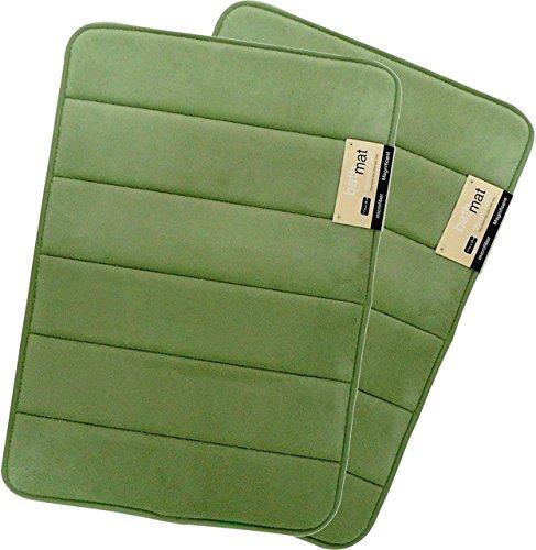 Magnificent 17 X 24 inch Memory Foam Bath Mat, Soft, Non-slip, High Absorbency - 2 Pack (Sage Green)
