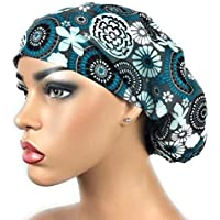 6974dfca69a Women s Surgical Scrub Hat Nurse Ponytail Adjustable Euro Bouffant Gray  Teal Floral DK Scrub Hats