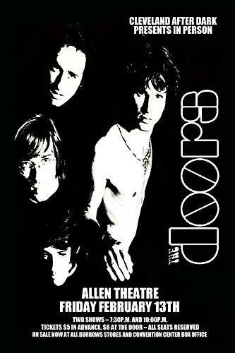 The Doors - Live 1970 Retro Art Print — Poster Size — Print of Retro Concert Poster — Features Jim Morrison, Ray Manzarek, Robby Krieger and John Densmore . (Collection Poster Flat)