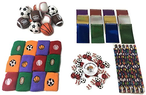 Terra Children Sports Theme Party Favors 12 Wristbands, 12 Balls, 36 Erasers, 12 Notebooks, 12 Pencils, and Button.