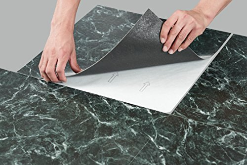 """Regal Collection Pack of 10 (18"""" x 18"""")Self Adhesive Natural Stone 2mm Thick Vinyl Tiles - Verde Green (Verde Green Marble)"""