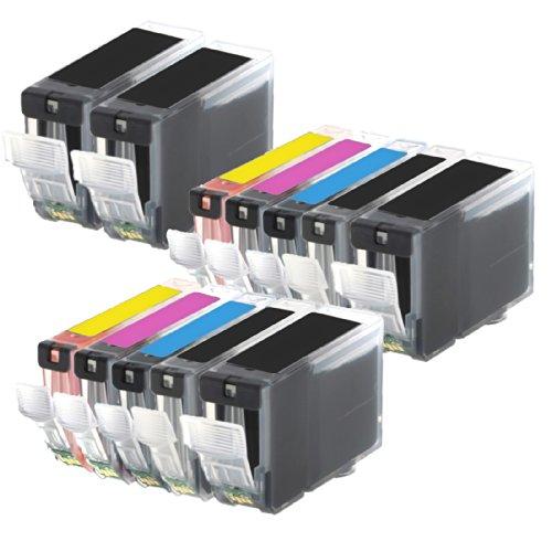 2 Pack + 2 PGI-5 Black of Total 12 Inktoneram® Replacement ink cartridges for Canon PGI-5 CLI-8 Ink Cartridges PGI-5BK CLI-8BK CLI-8C CLI-8M CLI-8Y replacement for Canon PGI-5 CLI-8 Black Cyan Magenta Yellow Combo Pack Set PIXMA MX700 MX850 iP3300 iP3500 iP4200 iP4300 iP4500 iP5200 iP5200R MP500 MP510 MP520 MP530 MP600 MP610 MP800 MP800R MP810 MP830 MP950 MP960 MP970