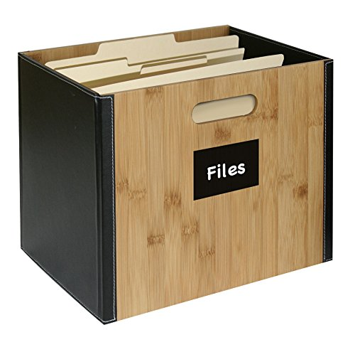 G.U.S. Decorative Office File Box For Letter Size File Folders Bamboo And Black Leatherette - Collapsible