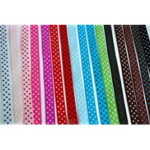"LaRibbons Grosgrain Ribbon Polka Dot, 3/8"", 16 Colors"