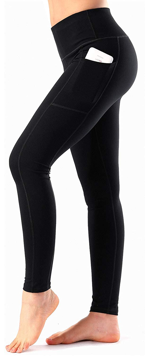 bd53f9593c Amazon.com: Women's High Waist Yoga Pants with Side & Inner Pockets Tummy  Control Workout Running 4 Way Stretch Sports Leggings: Clothing
