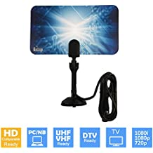 Uninex Flat HD Digital Indoor TV Antenna 25 Miles Range UHF/VHF PC 1080p 1080i 720p HDTV DTV Box Ready High Gain