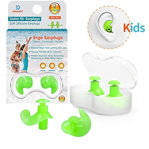 Upgraded Swimming Ear Plugs for Kids, 2 Pairs Waterproof Reusable Silicone Ear Plugs for Swimming Diving Children Molded Professional Soft Flexible Showering Surfing and Other Water Sports - Green