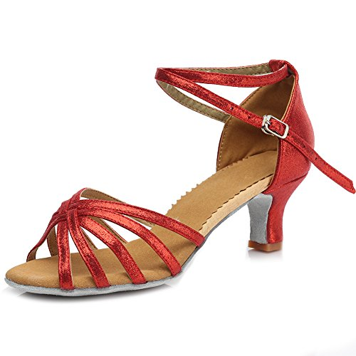 Performance Ballroom Salsa Leather 5CM Latin Dance Shoes Women's Shoes Roymall Red 6 MF1810 Model Tango wYXq8xp