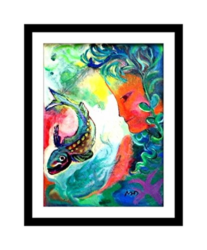 Mermaid Art Print Whimsical Home Decor Nautical Picture Poster