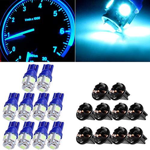 cciyu T10 Wedge 147 194 168 W5W 12V LED Interior Light Instrument Panel Dash Light (with Twist Lock Socket),10 Pack Ice Blue ()