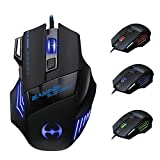 Cuitan 3200 DPI USB Wired Optical Gaming Mouse for Desktop Computer PC, 7 Buttons 1000 DPI / 1600 DPI / 2400 DPI / 3200 DPI Adjustable Colorful Breathing Lights Mouse for Gaming Enthusiasts - Black