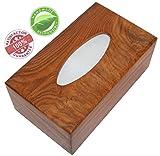 tiki tissue dispenser - SouvNear 10 Inch Brown Tissue Box Cover - Wooden Holder Paper Dispenser for 210 Kleenex Tissues