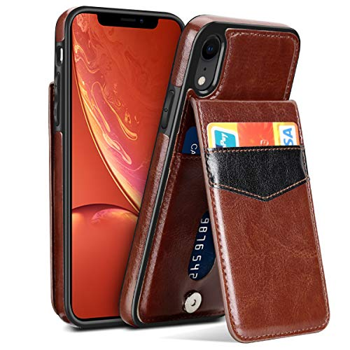 SAMONPOW Case for iPhone XR Faux Leather Back Flip iPhone XR Wallet Case with Card Holder ID Credit Debit Card Driver License Slim Fit Protective Carrying Cover for iPhone XR (2018) 6.1'' - Brown