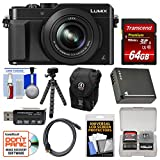 Panasonic Lumix DMC-LX100 4K Wi-Fi Digital Camera (Black) with 64GB Card + Case + Battery + Flex Tripod + Kit
