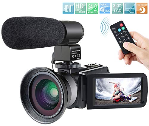 Camcorder,Besteker 1080P IR Night Vision Full HD Digital Video Camera with External Microphone and Wide Angle Lens