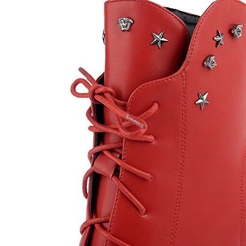 Allhqfashion Women's Round Closed Toe PU Zipper High-Heels Low-top Boots Red tsgJe9M