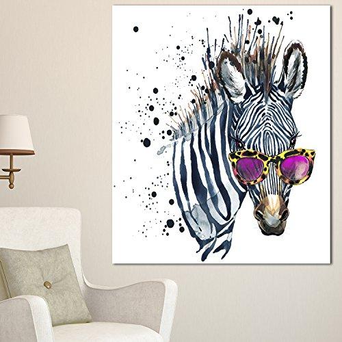 Wall Zebra Metal (Designart Funny Zebra Watercolor-Extra Large Animal Metal Wall Art-12x28, 12x28, Gray)