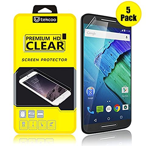 [5 PACK] Moto X Pure Edition/ Moto X Style Screen Protector, Premium High Definition Clear Film Anti-Scratch & Fingerprint Bubble-free Screen Protector Skin Cover For Motorola Moto X Style (Motorola X Clear Cover)