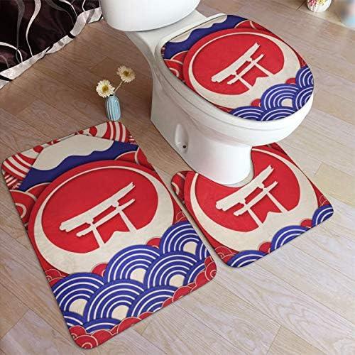 トイレマット 和風柄 日本風の絵柄 浴室足ふきマット 3点セット タンクカバー 滑り止め 耐摩耗 吸水 洗える