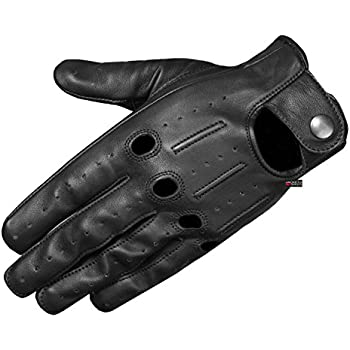 Mens Transporter Genuine Lambskin Aniline Leather Driving Gloves Ventilated XL