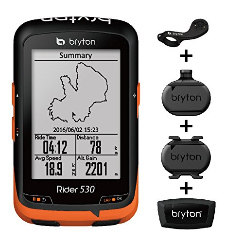 "Bryton Rider 530 GPS Cycling Computer (2.6"" Display, 530T - with Smart Cadence + Speed+ HRM + F-Mount)"