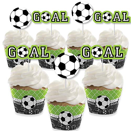 (GOAAAL! - Soccer - Cupcake Decoration - Baby Shower or Birthday Party Cupcake Wrappers and Treat Picks Kit - Set of 24)
