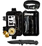 Global Tactical Gear Survival Kit, Emergency Wilderness Tools with Heavy Duty Knife, Compass, and Emergency Blanket - Essential Survival Gear