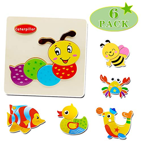 Wooden Toddler Puzzle (Set of 6) Animal Jigsaw Floor Puzzles Education Learning Toys for Kid 3 4 5 Years Old -Crab, Duck, Bee, Fish, Dolphin and Caterpillar