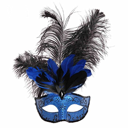 Blue Painted Princess Mask Half face With Feathered Masquerade Mask (Feathered Masquerade Mask)