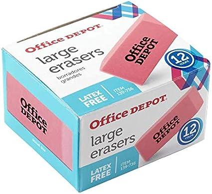 Office Depot rosa bisel gomas de borrar, grandes, pack de 12 ...