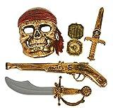 gun swords - GiftExpress 5-Piece Halloween Pirate Costume Accessories for Kids, Pirate Role Play Set /Halloween Costumes for Boys/Pirate Paraphernalia (Pirate Sword, Compass, Dagger, Mask, Gun)