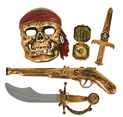GiftExpress 5-Piece Halloween Pirate Costume Accessories for Kids, Pirate Role Play Set /Halloween Costumes for Boys/Pirate Paraphernalia (Pirate Sword, Compass, Dagger, Mask, Gun)]()