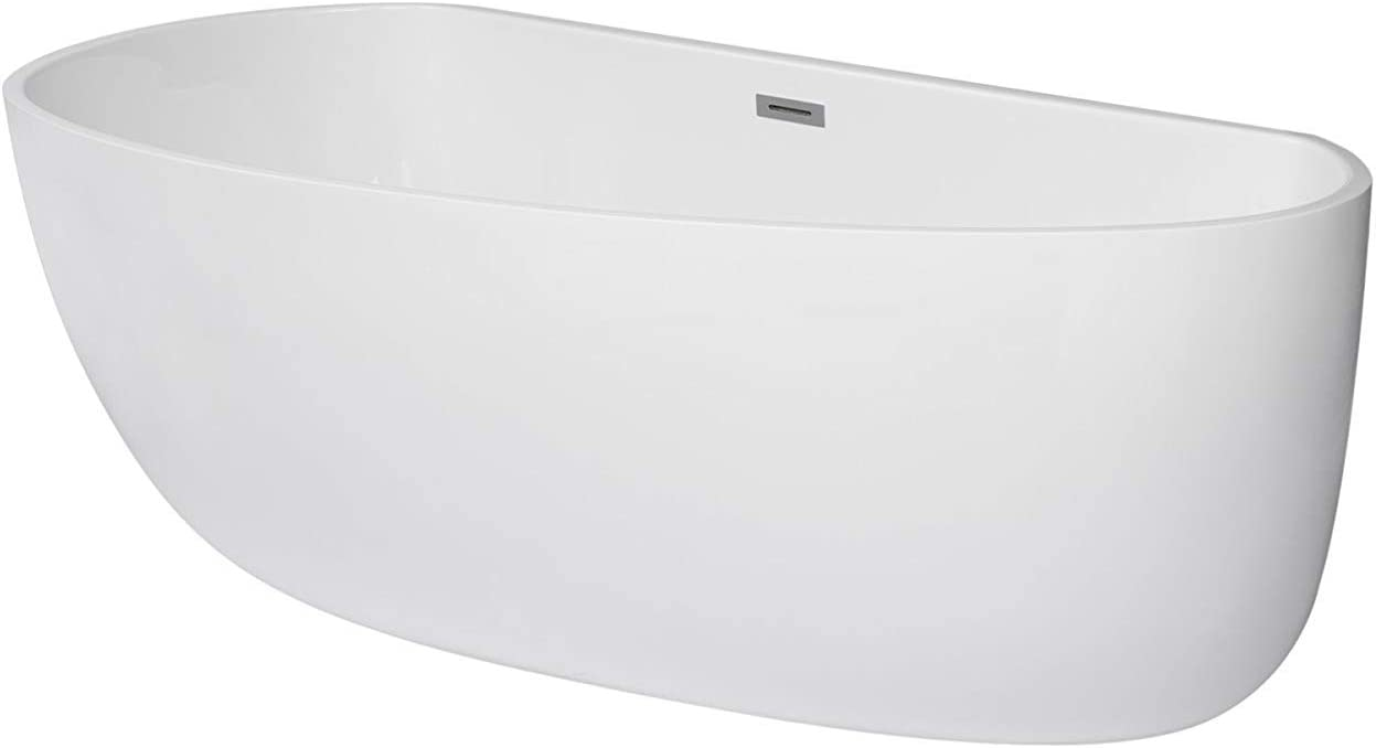 MAYKKE Deslin 67 Curved Oval Acrylic Bathtub Contemporary Freestanding White Soaker Tubs for Bathroom, Shower cUPC certified, Drain Overflow Assembly Included XDA1439001