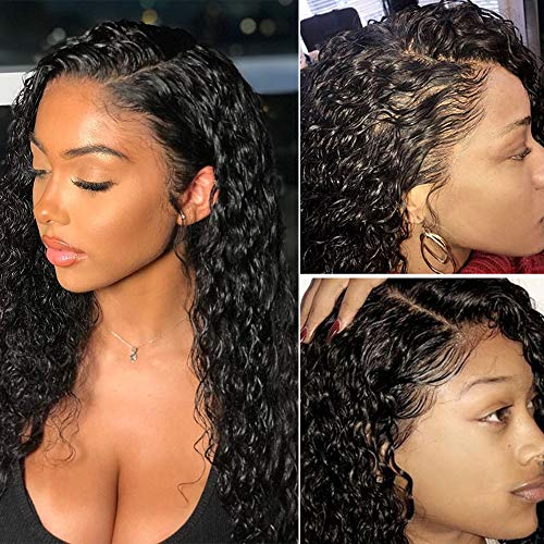 Brazilian Water Wave Lace Front Wigs for Black Women 130% Density Virgin Human Hair Wigs with Baby Hair(12inch)