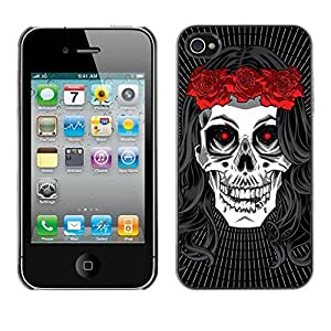 Colorful Printed Hard Protective Back Case Cover Shell Skin for Apple iPhone 4 / iPhone 4S / 4S ( Death Bride Wreath Rock Music Metal )