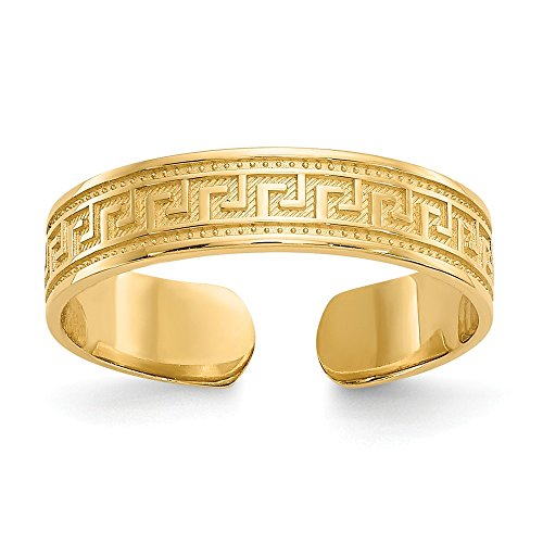 14k Yellow Gold Greek Key Toe Ring Toe-rings