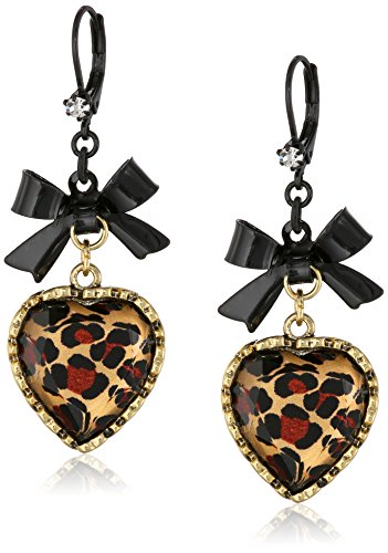 Betsey Johnson Crystal Leopard Heart and Black Bow Drop Earrings - Leopard Heart Crystal