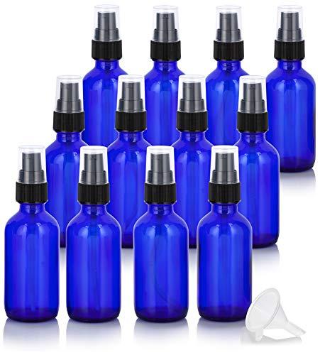 2 oz Cobalt Blue Glass Boston Round Treatment Pump Bottle (12 Pack) + Funnel for Essential Oils, Aromatherapy, Food Grade, bpa Free Cobalt Blue Glass Pump
