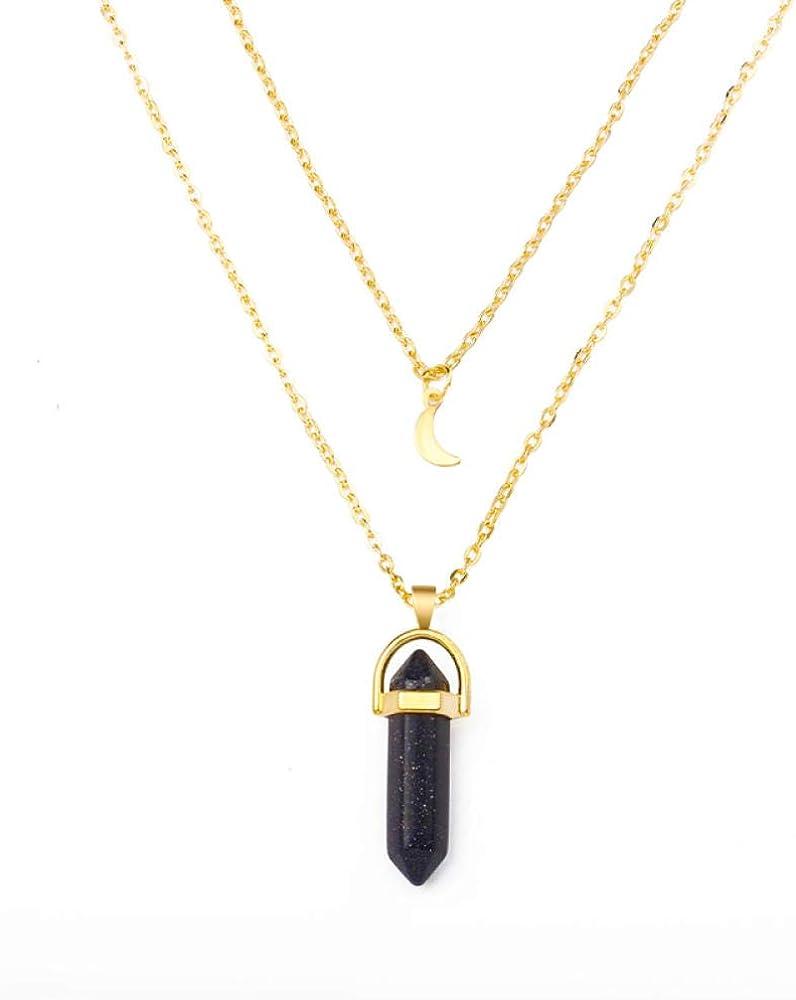 TTDAltd Collar 1Pcs Piedra Natural Gargantilla de Luna Colgante de Cristal de Color Dorado Collar para Mujer Regalo de Fiesta de Boda