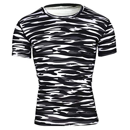 iLXHD Men's Short Sleeve Fashion Classic Basic Yoga Fitness Print T-Shirt Sport Casual Top Blouse Black from iLXHD