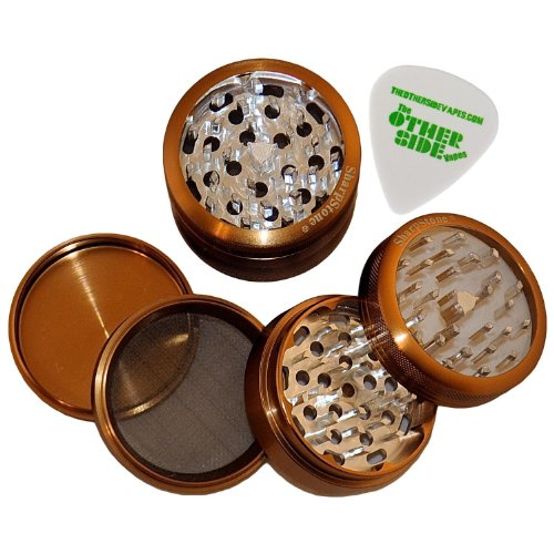 2.5″ – Copper 4 Piece SharpStone Clear Top Herb Grinder + Custom Pollen Pick Bundle, Health Care Stuffs