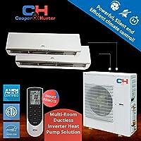 Multi Dual-zone Ductless System 30,000 Btu Inverter Heat Pump 9k Btu+18k Btu Indoor 22 Seer (White) (white)